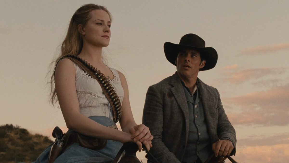 Evan Rachel Wood as Dolores and James Marsden as Teddy in HBO's Westworld