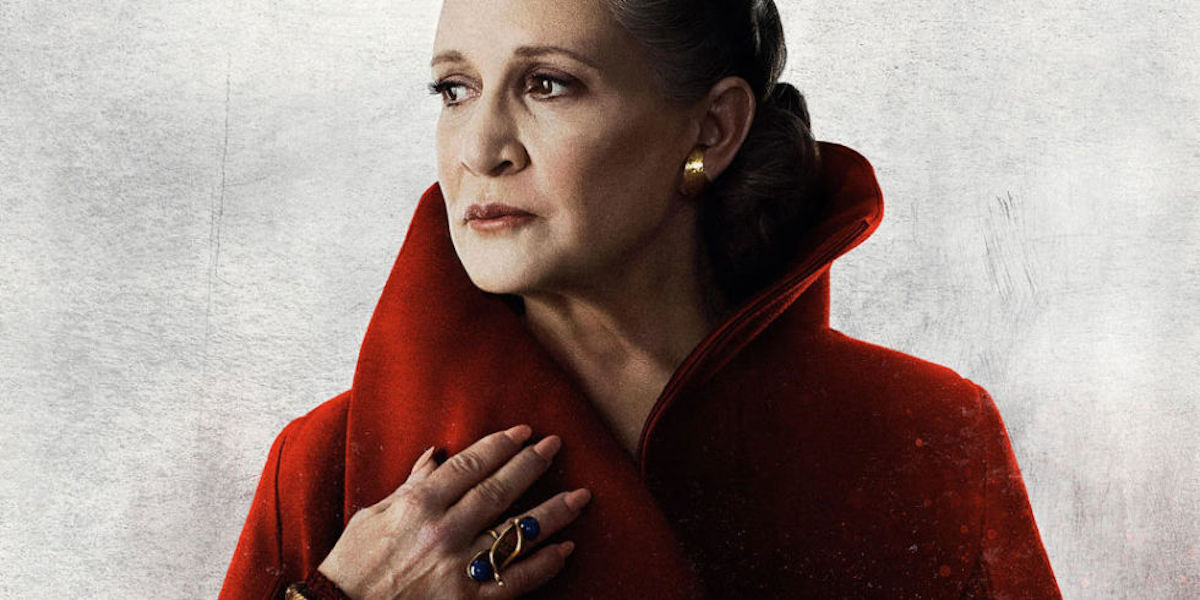 Carrie Fisher as Leia in Star Wars: The Last Jedi poster