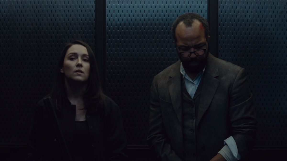Shannon Woodward as Elsie and Jeffrey Wright as Bernard on HBO's 'Westworld'