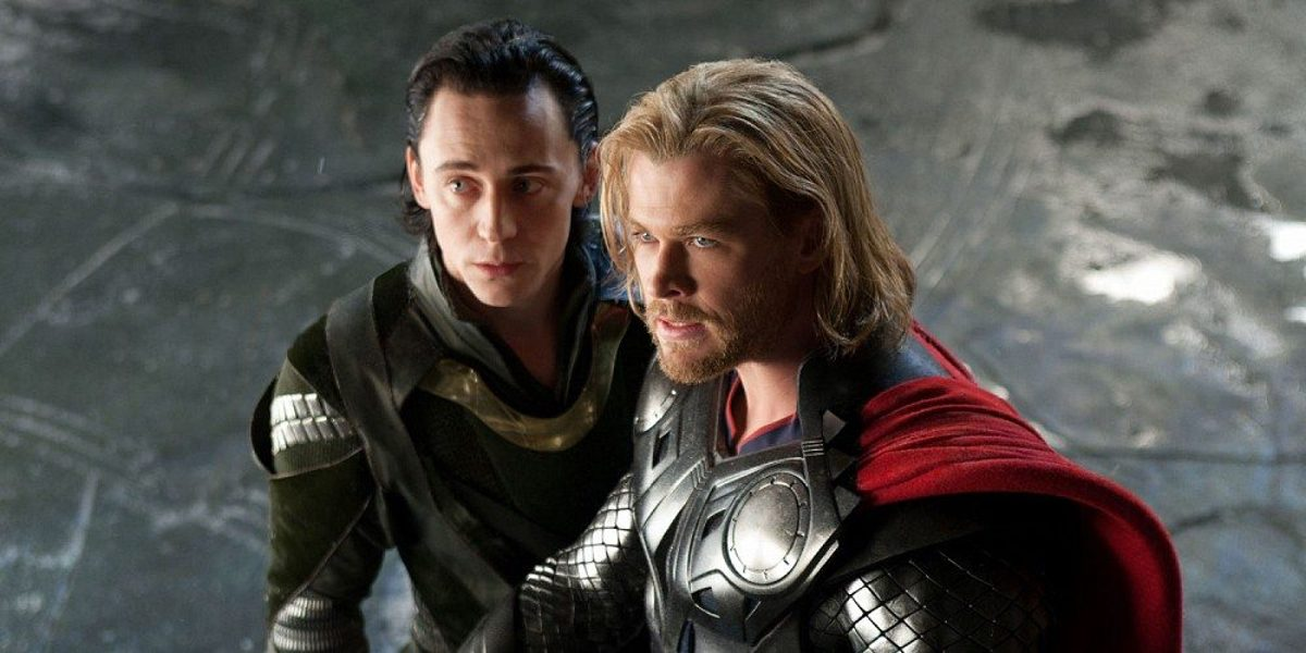 Thor (Chris Hemsworth) and Loki (Tom Hiddleston) face off against Frost Giants in Thor