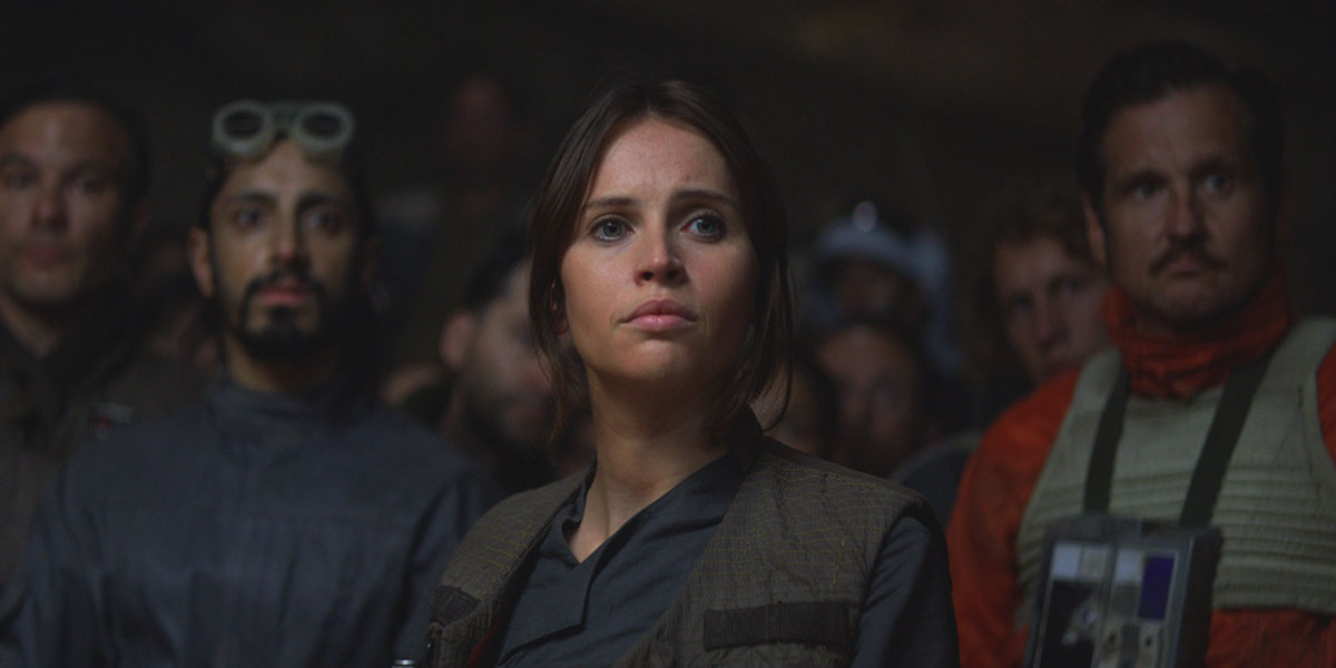 Rogue One: A Star Wars Story sees Felicity Jone's Jyn Erso fight the Empire, aided by Riz Ahmed's Bodhi Rook
