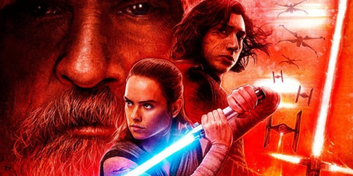 Star Wars: The Last Jedi poster features Rey, played by Daisy Ridley, and Kylo Ren, played by Adam Driver