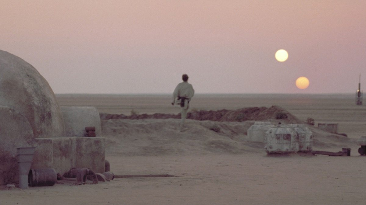 tatooine luke skywalker twin sunset star wars a new hope