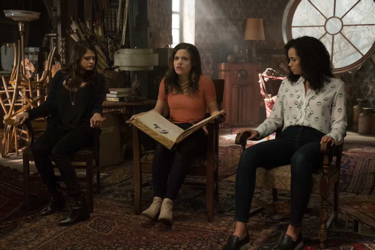 "Charmed -- ""Pilot""-- Image Number: CMD101c_0494rb.jpg -- Pictured (L-R): Melonie Diaz as Mel Vera, Sarah Jeffery as Maggie Vera and Madeleine Mantock as Macy Vaughn -- Photo: Katie Yu/The CW -- © 2018 The CW Network, LLC. All Rights Reserved"