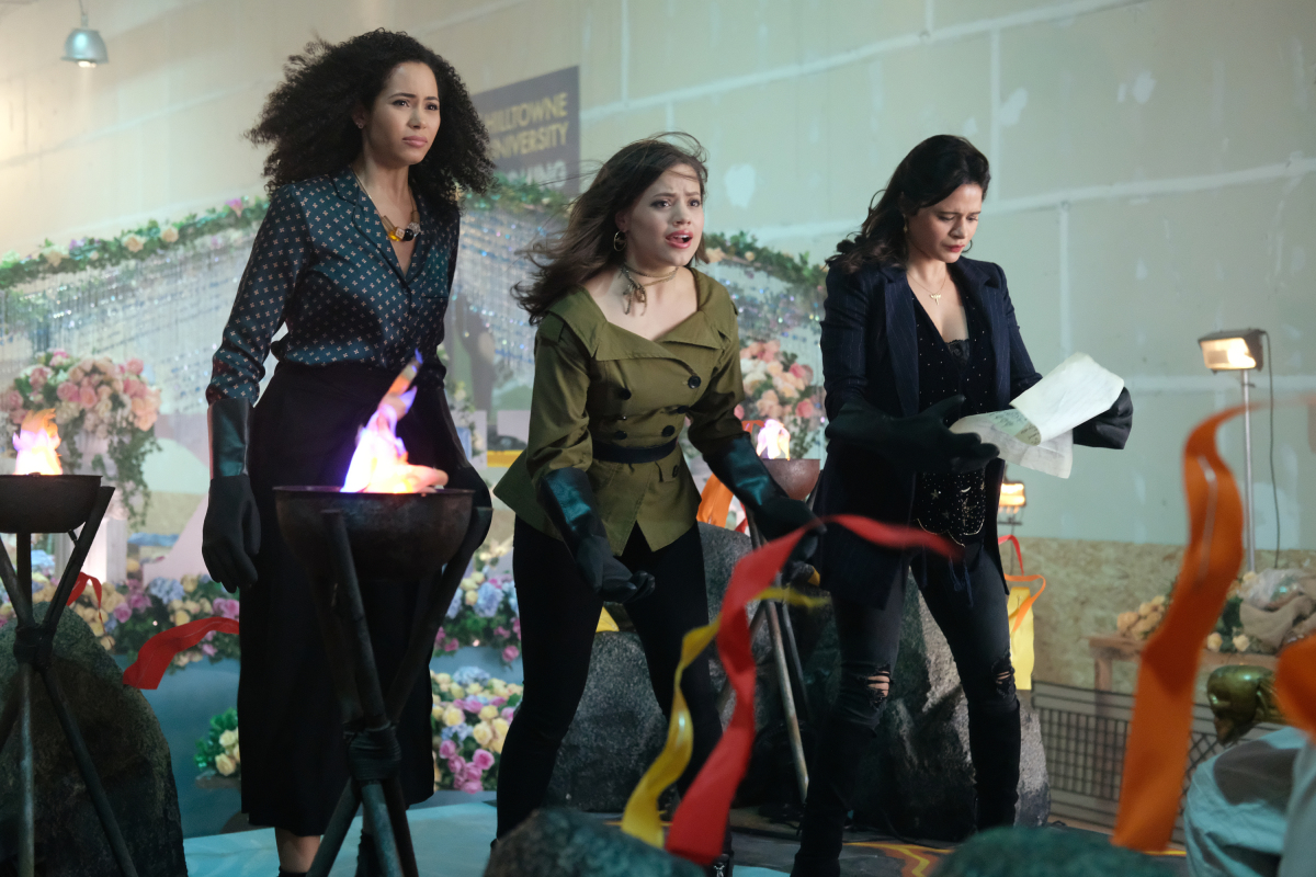 "Charmed -- ""Exorcise Your Demons"" -- Image Number: CMD104b_0202.jpg -- Pictured (L-R): Madeleine Mantock as Macy, Sarah Jeffery as Maggie and Melonie Diaz as Mel -- Photo: Robert Falconer/The CW -- © 2018 The CW Network, LLC. All Rights Reserved."