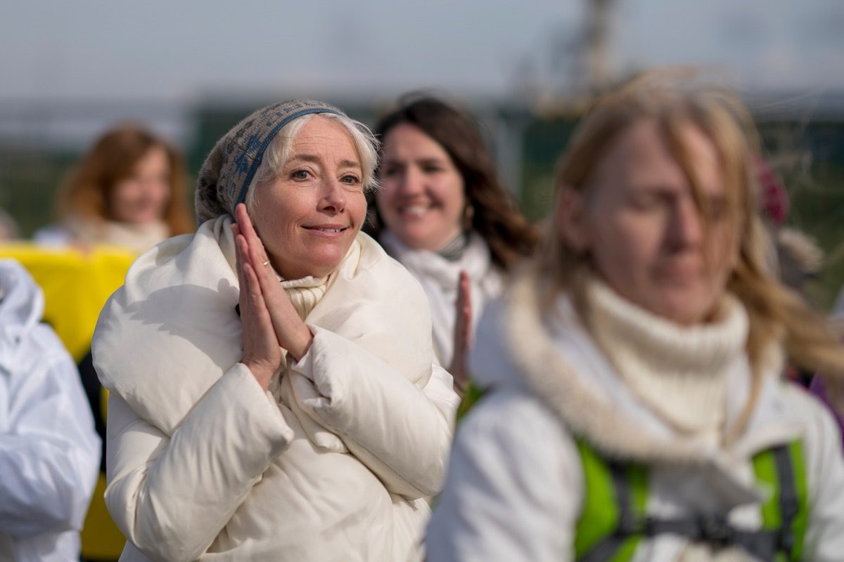 British actress Emma Thompson takes part in a protest march at the Preston New Road drill site