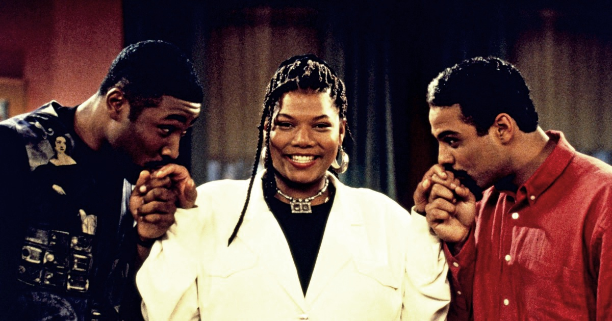 LIVING SINGLE, from left: Cress Williams, Queen Latifah, Adam Lazarre-White, 'What's Next?, (season 1, episode 27, aired May 15, 1994), 1993-1998, © Warner Brothers/courtesy Everett Collection