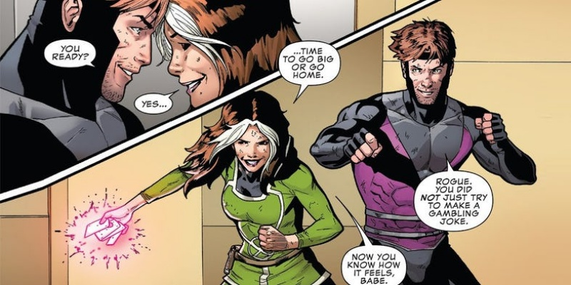Rogue and Gambit being cute together about to beat up somebody