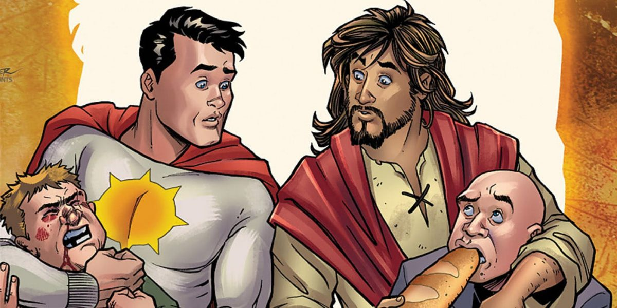 Sun-Man and Jesus on the cover of DC's Second Coming #1 drawn by Amanda Conner.