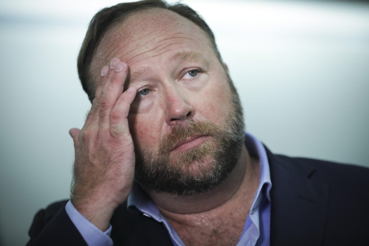 Alex Jones of Infowars looking bummed.