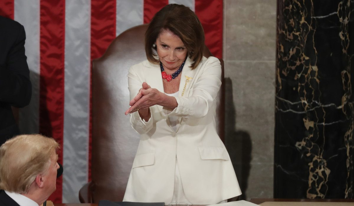 Nancy Pelosi sarcastically claps while President Trump Delivers State Of The Union Address To Joint Session Of Congress