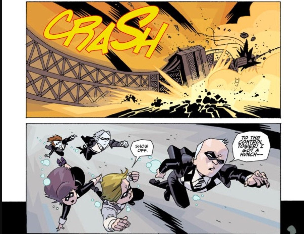 The Eiffel Tower crashing in The Umbrella Academy comic.
