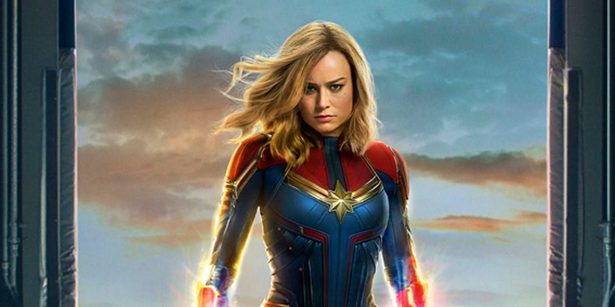Captain Marvel on her movie poster.