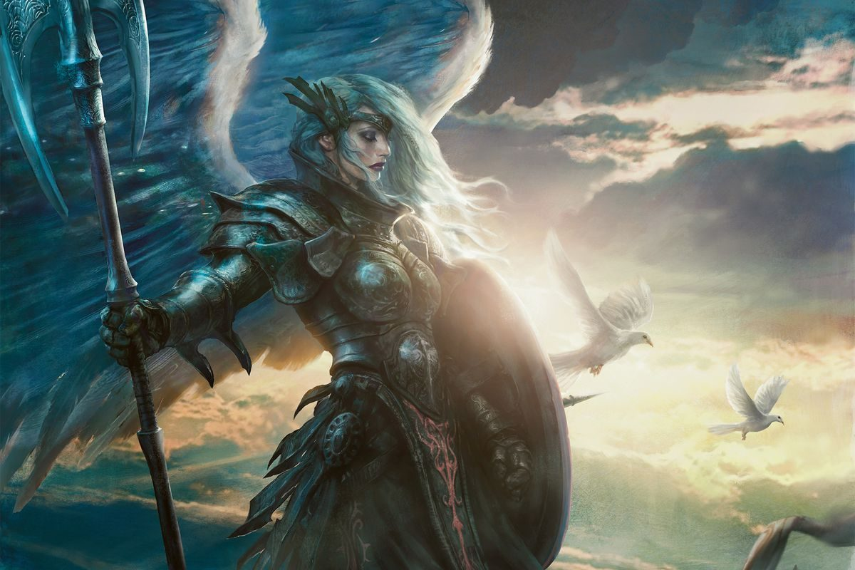 Magic The Gathering angel Serra card with the character holding a spear on the twilight's last gleaming