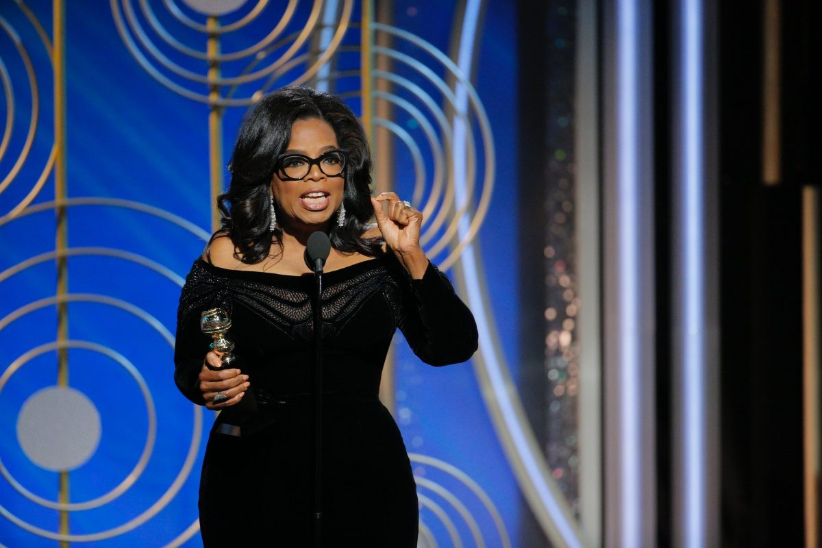 Oprah Winfrey accepts the 2018 Cecil B. DeMille Award and speaks onstage during the 75th Annual Golden Globe Awards.