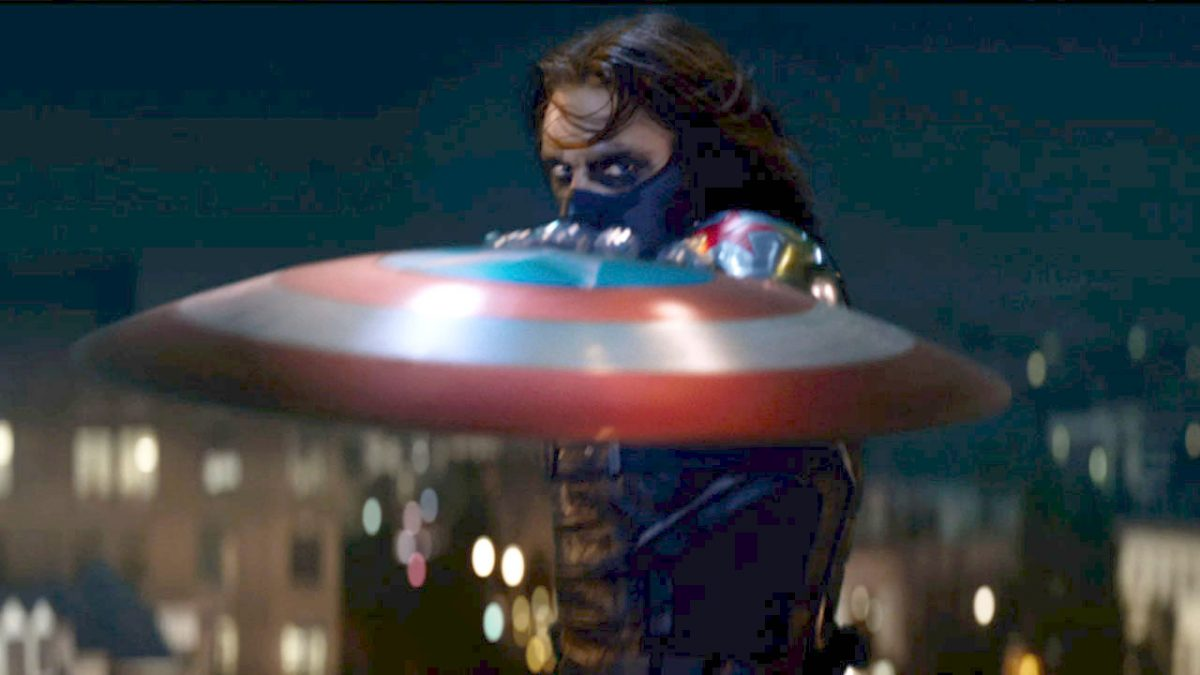 Bucky as the Winter Soldier, catching Captain America's shield in Captain America: The Winter Soldier.