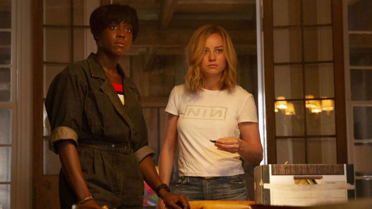Lashana Lynch and Brie Larson star as Maria Rambeau and Carol Danvers in Captain Marvel.