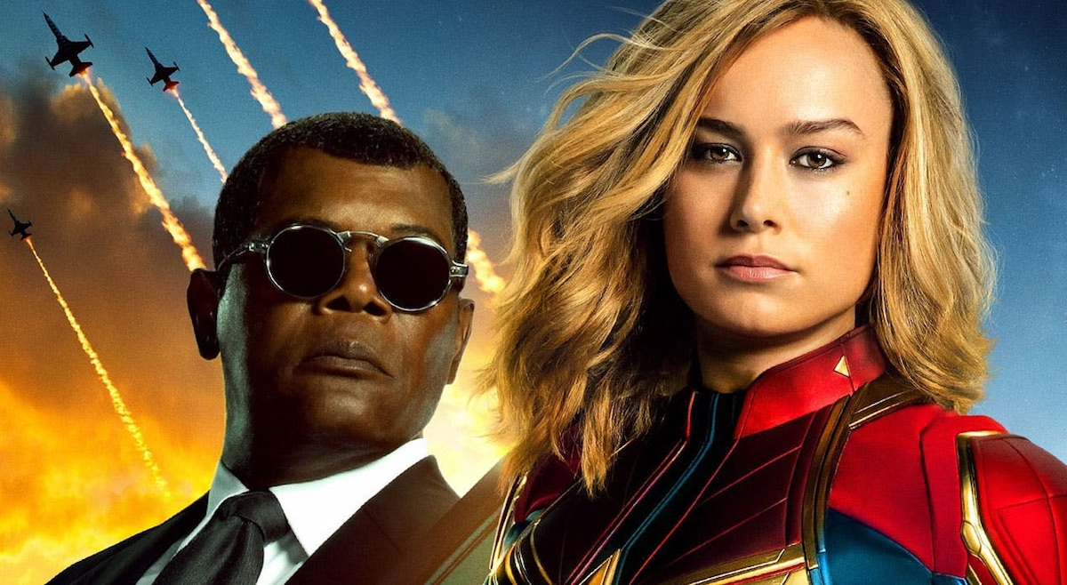 Carol Danvers and Nick Fury in Captain Marvel