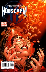 House of M comic cover with Scarlet Witch coming apart literally.