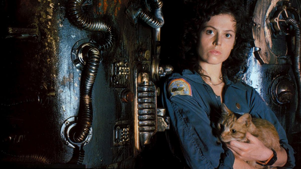 sigourney weaver and jonesy the cat in Ridley Scott's Alien.