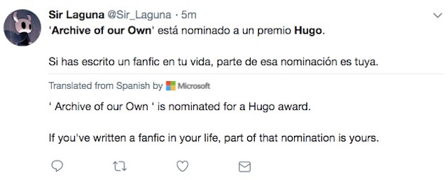 Tweet about Archive of Our Own Hugo nomination