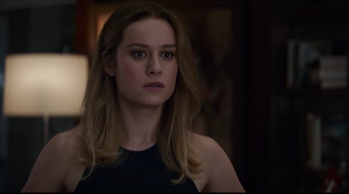 Carol Danvers as Captain Marvel, judging the lack of material for women in Endgame.