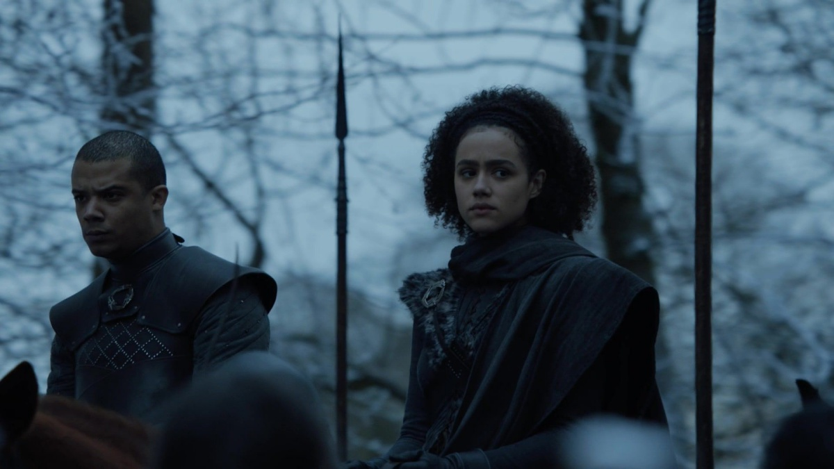 Grey Worm and Missandei enter Winterfell on Game of Thrones where the North meets people of color for the first time yayyyy only thing scarier than dragons are brown people on horses