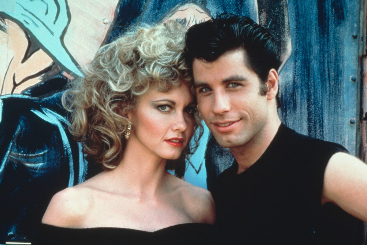 sandy and danny aka olivia newton-john and john travolta in grease.