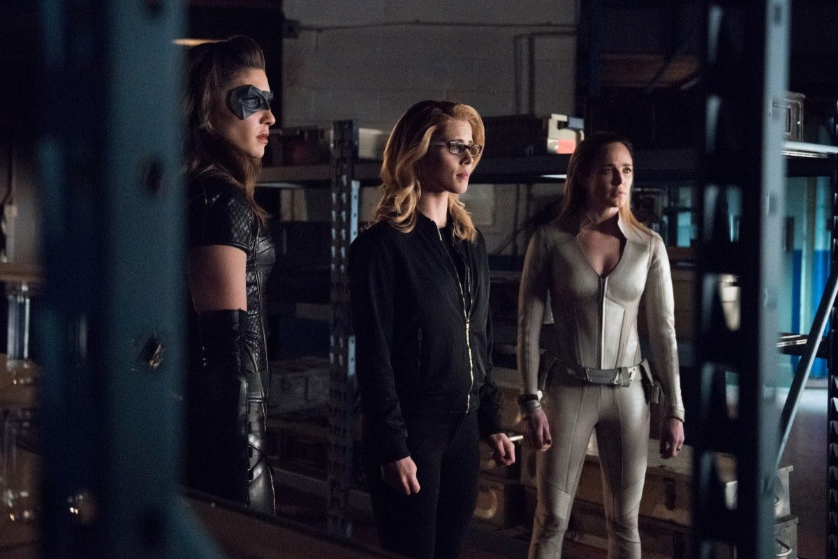 Pictured (L-R): Juliana Harkavy as Dinah Drake/Black Canary, Emily Bett Rickards as Felicity Smoak and Caity Lotz as Sara Lance/White Canary in The CW's Arrow.