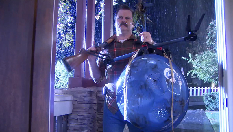 ron swanson shoots down a drone in parks and recreation.