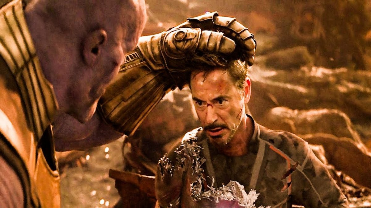 Thanos laying Tony Stark down to die in Avengers: Infinity War.