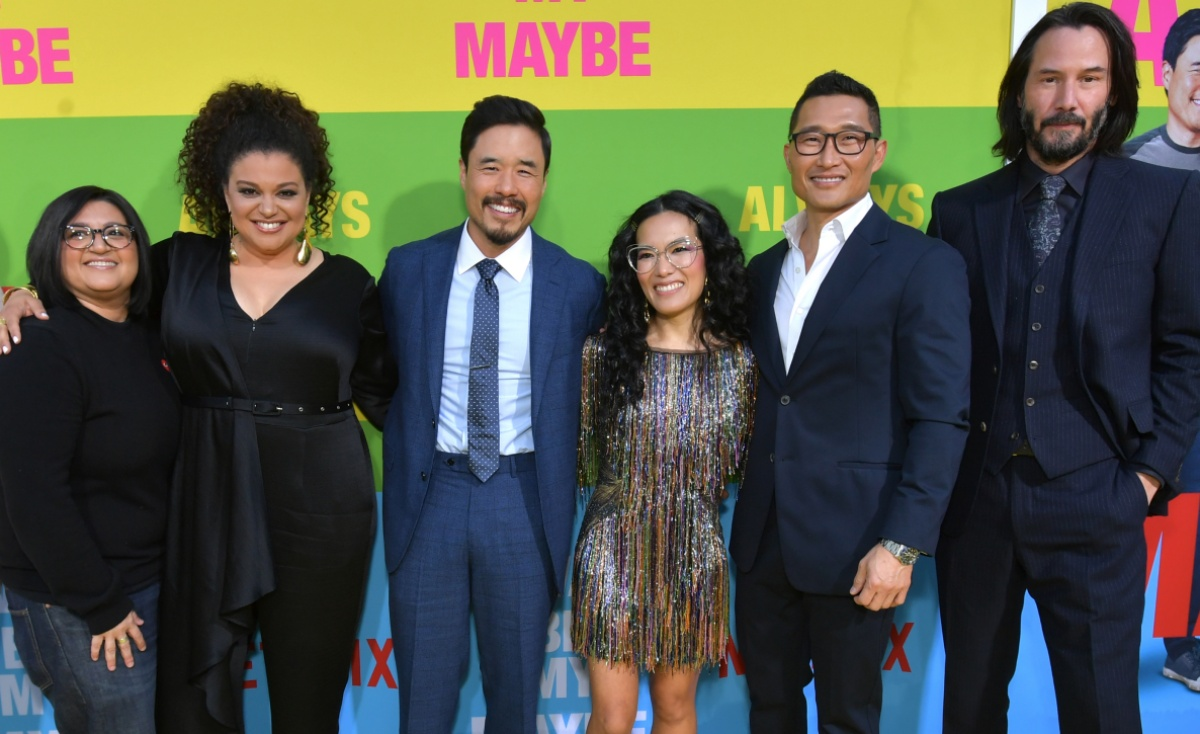 Nahnatchka Khan, Michelle Buteau, Randall Park, Ali Wong, Daniel Dae Kim and Keanu Reeves attend the world premiere of Netflix's 'Always Be My Maybe' at Regency Village Theatre on May 22, 2019 in Westwood, California. (Photo by Emma McIntyre/Getty Images for Netflix)