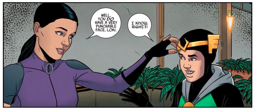 Kate Bishop and Loki in Marvel comics.