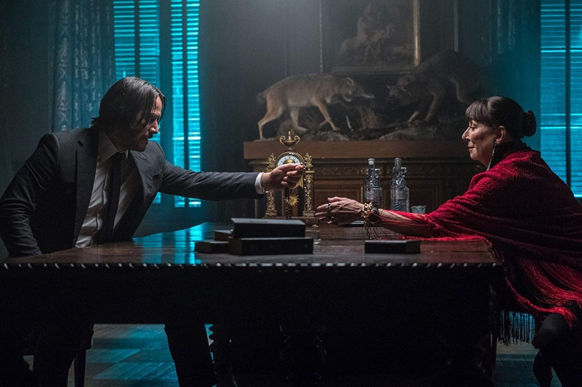 Keanu Reeves and Anjelica Huston in John Wick- Chapter 3 - Parabellum (2019).