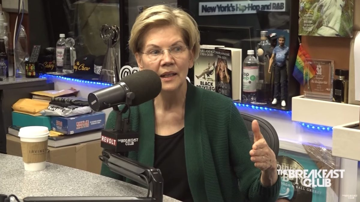 Elizabeth Warren appearing on The Breakfast Club radio program.