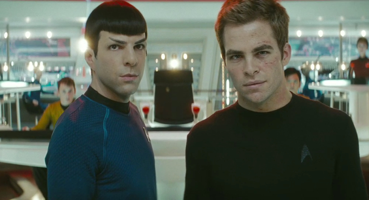 Spock (Zachary Quinto) and Kirk (Chris Pine) face destiny head on in Star Trek.
