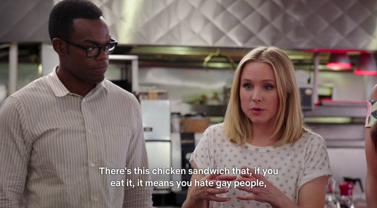 the good place chick fil a