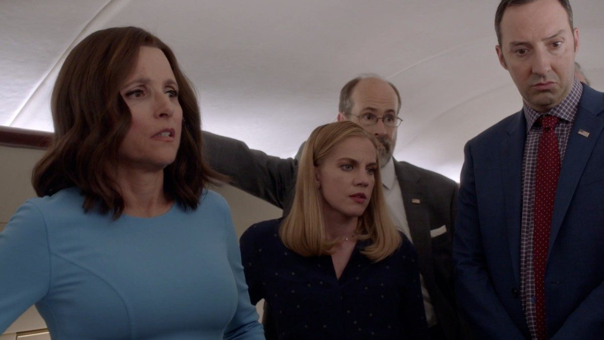 Veep's Selina, Amy, Gary, and Leon all look disappointed.