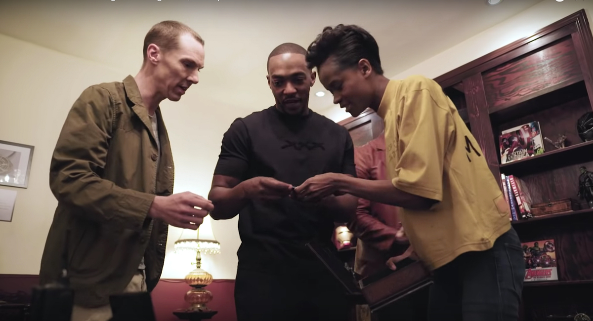 Benedict Cumberbatch, Anthony Mackie, and Letitia Wright try to escape the Avengers: Endgame escape room that director Joe Russo concocted.