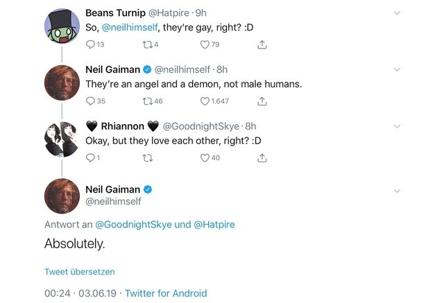 Good Omens Neil Gaiman on Crowley/Aziraphale