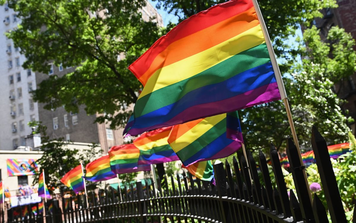 Rainbow flags are seen at the Stonewall National Monument