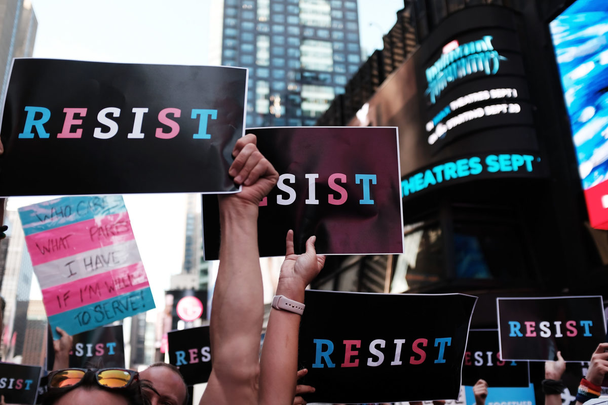 protesters against trump's trans military ban