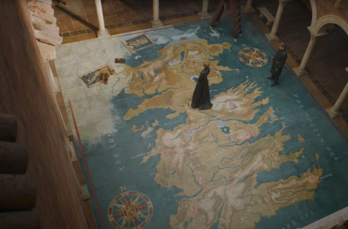 Cersei Lannister in the map room of 'Game of Thrones'
