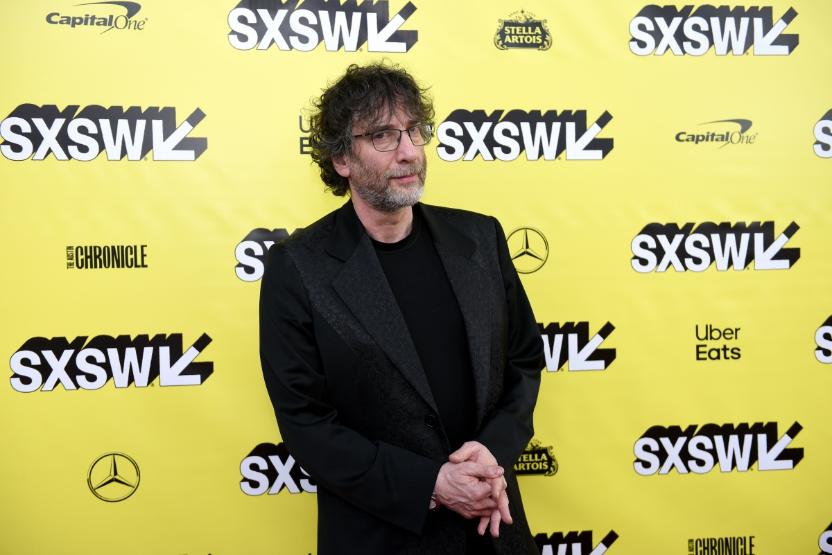 Neil Gaiman attends the Good Omens: The Nice and Accurate event during SXSW at ZACH Theatre on March 09, 2019 in Austin, Texas. (Photo by Sasha Haagensen/Getty Images for Amazon Studios )