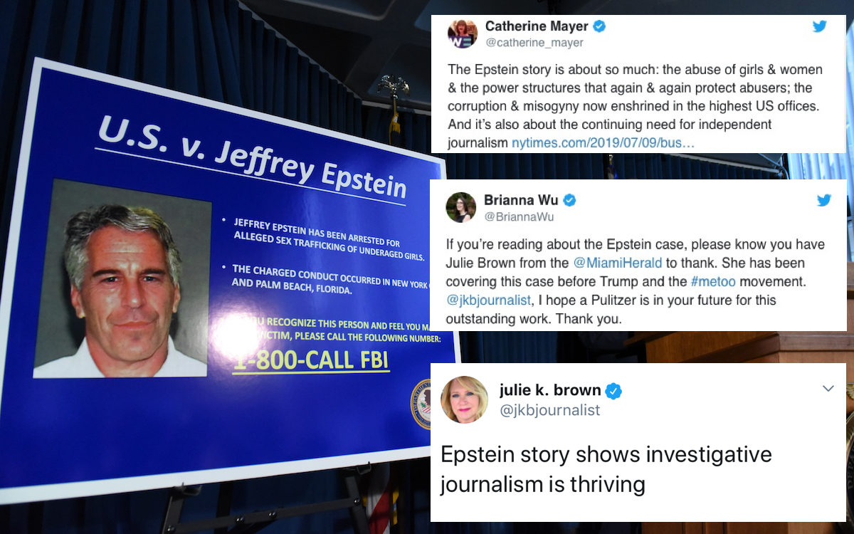 Southern District of New York Geoffrey Berman announces charges against Jeffery Epstein with tweets praising Brown overlaid.