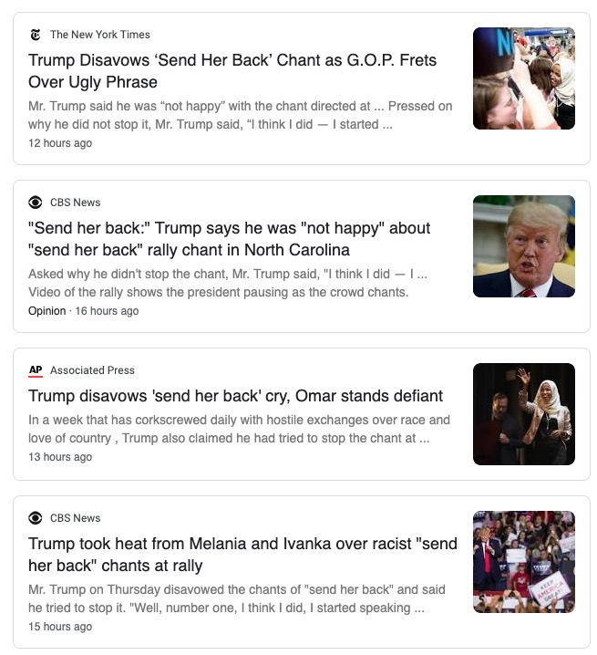 "Headlines that do not challenge Trump's claim that he tried to stop the ""send her back"" chants at his rally."