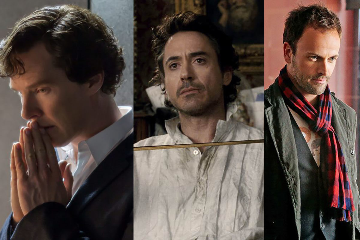 Benedict Cumberbatch, Robert Downey Jr, and Johnny Lee Miller all as Sherlock
