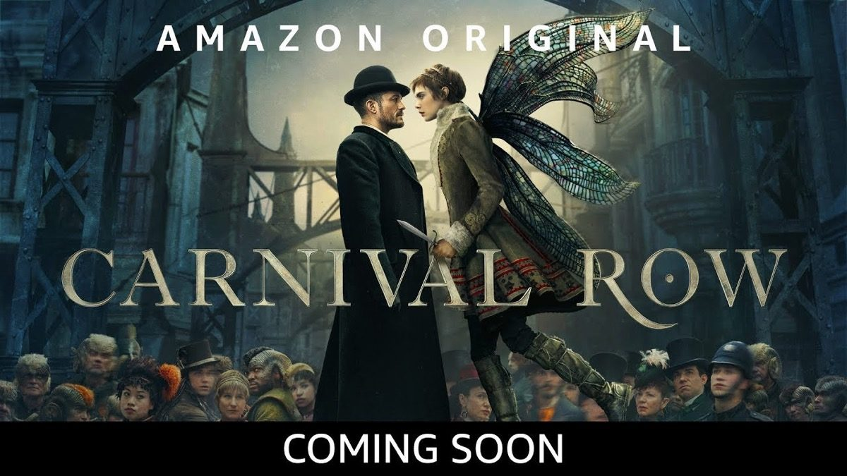 Amazon original Carnival Row art with a man and a fairy staring into each other's eyes.