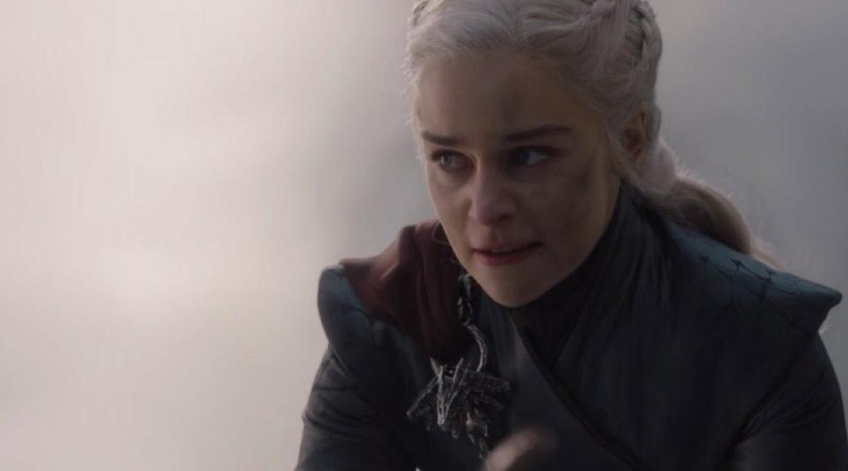 Emilia Clarke as Daenerys Targaryen looking pissed in that scene (you know the one) from the final season of HBO's Game of Thrones.