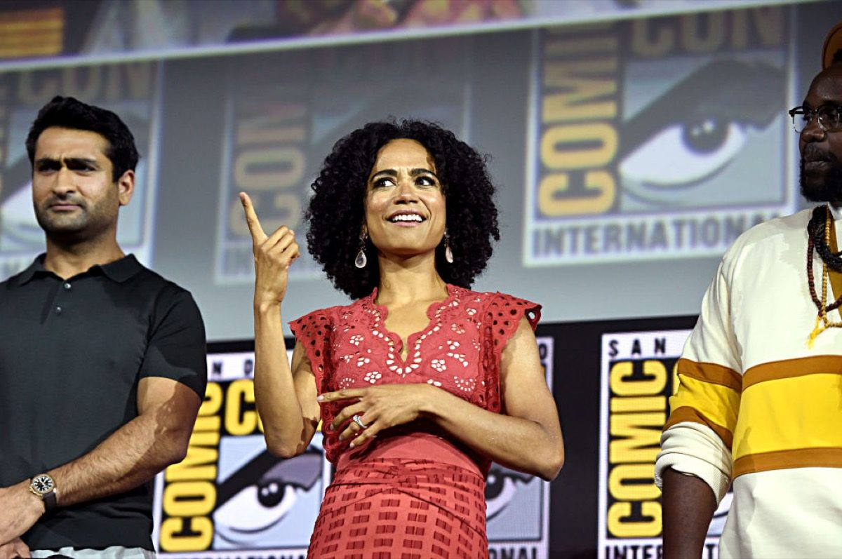Kumail Nanjiani, Lauren Ridloff and Brian Tyree Henry of Marvel Studios' 'The Eternals' at the San Diego Comic-Con International 2019 Marvel Studios Panel in Hall H on July 20, 2019 in San Diego, California.